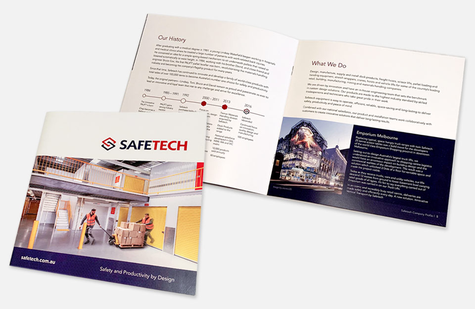 Photo of company brochure for Safetech