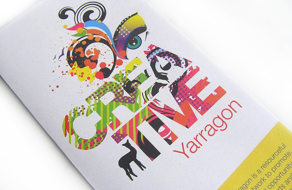 Close up of bright creative design on front of a brochure