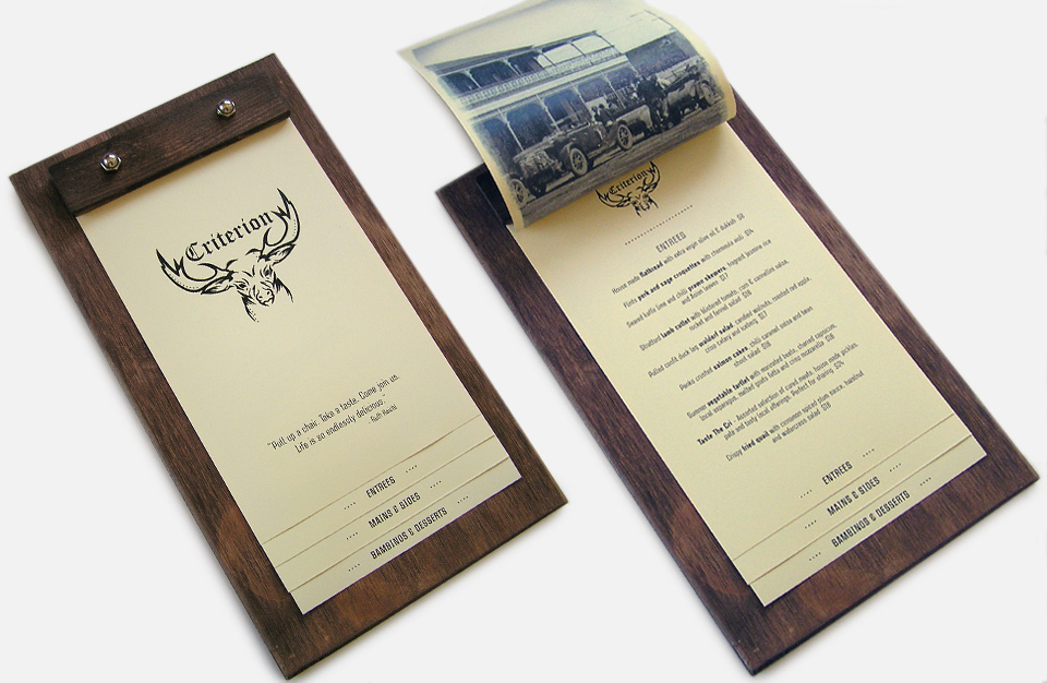 Photo of menus for a pub