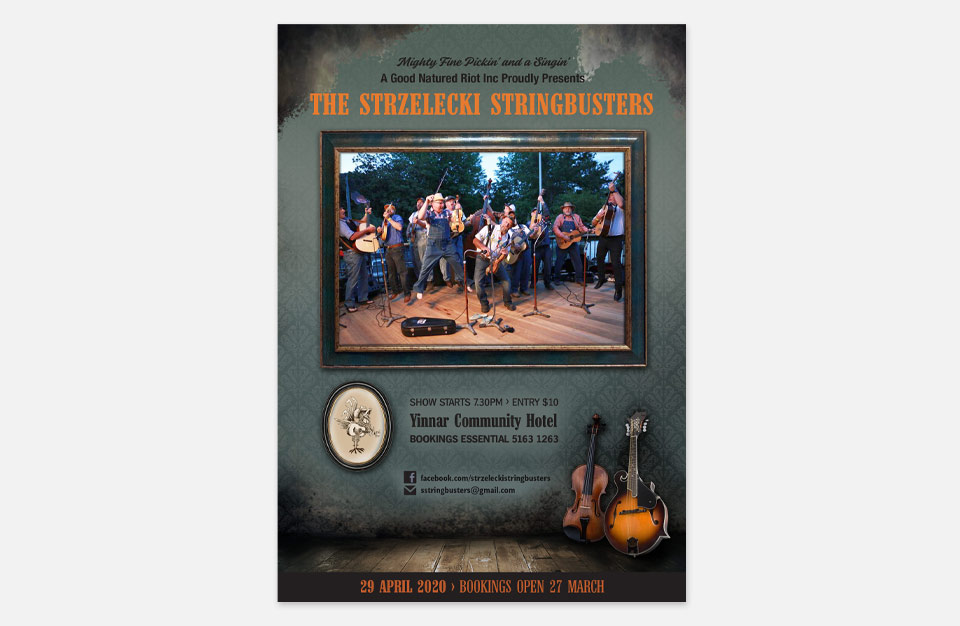 Poster designed for Strzelecki StringBusters live shows