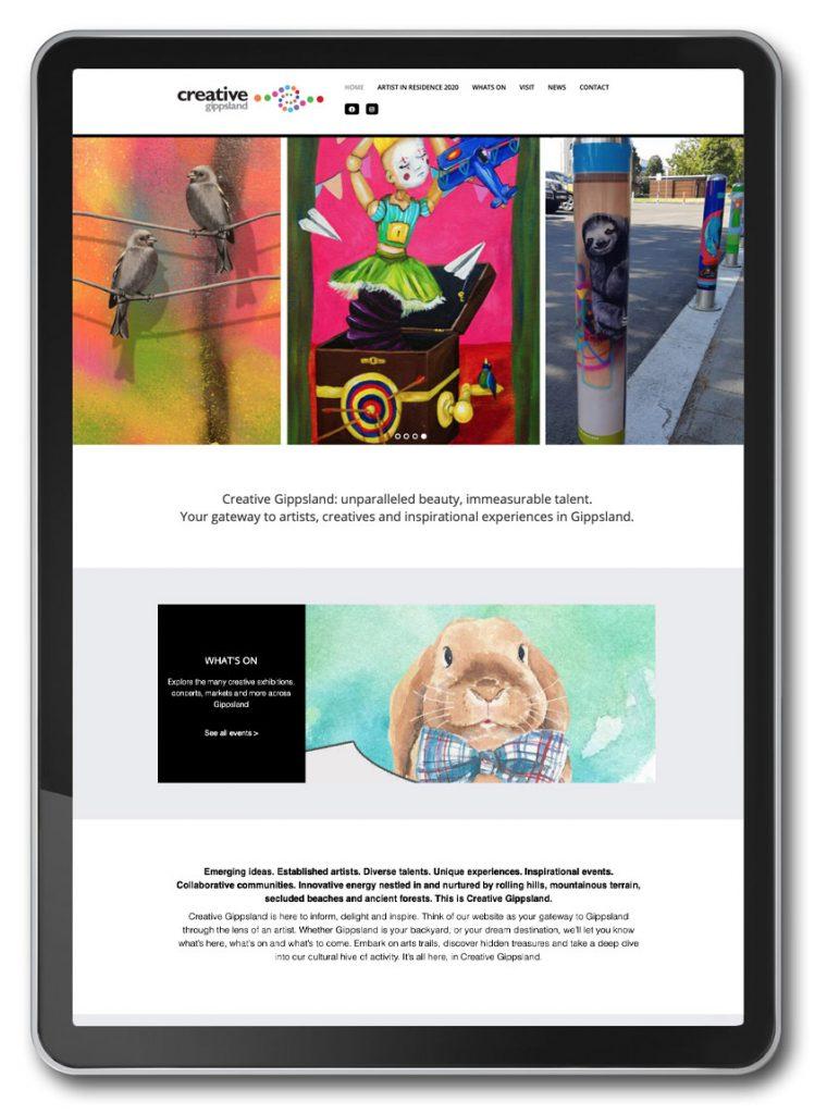 Photo of Creative Gippsland website homepage on iPad