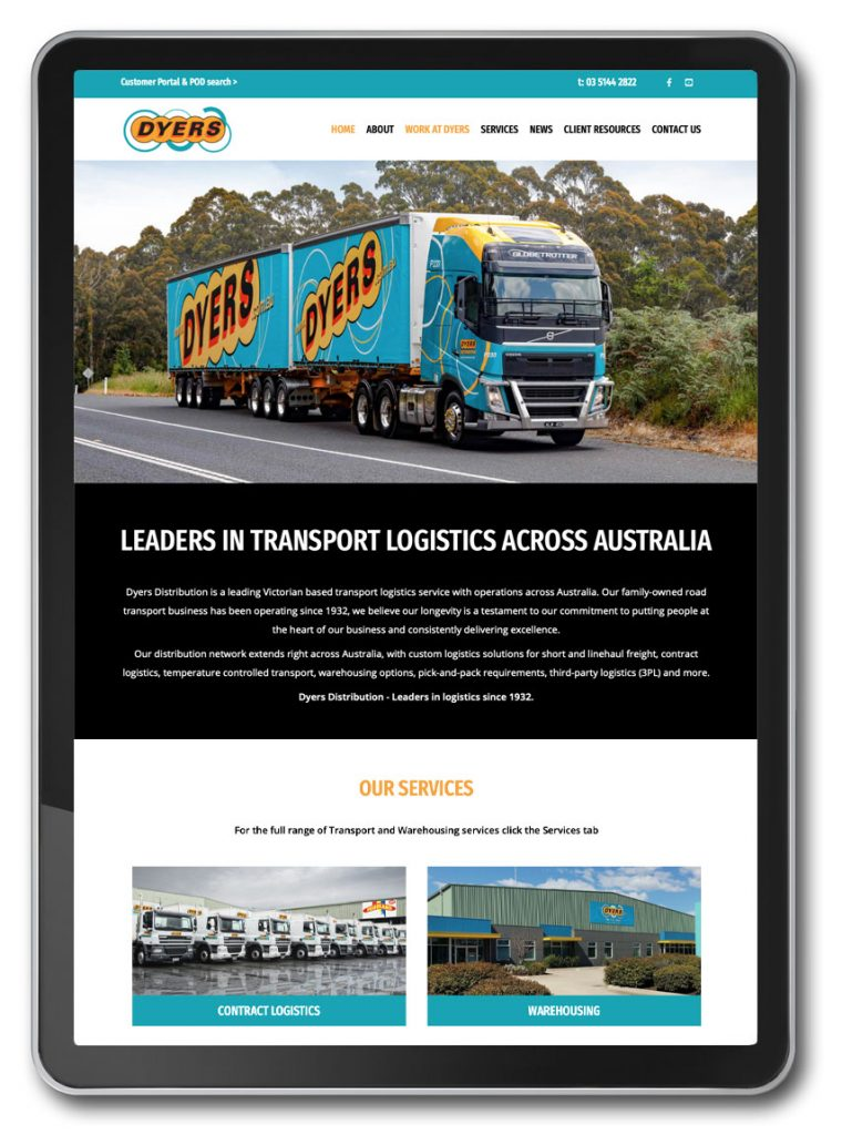 Photo of Dyers transport website homepage