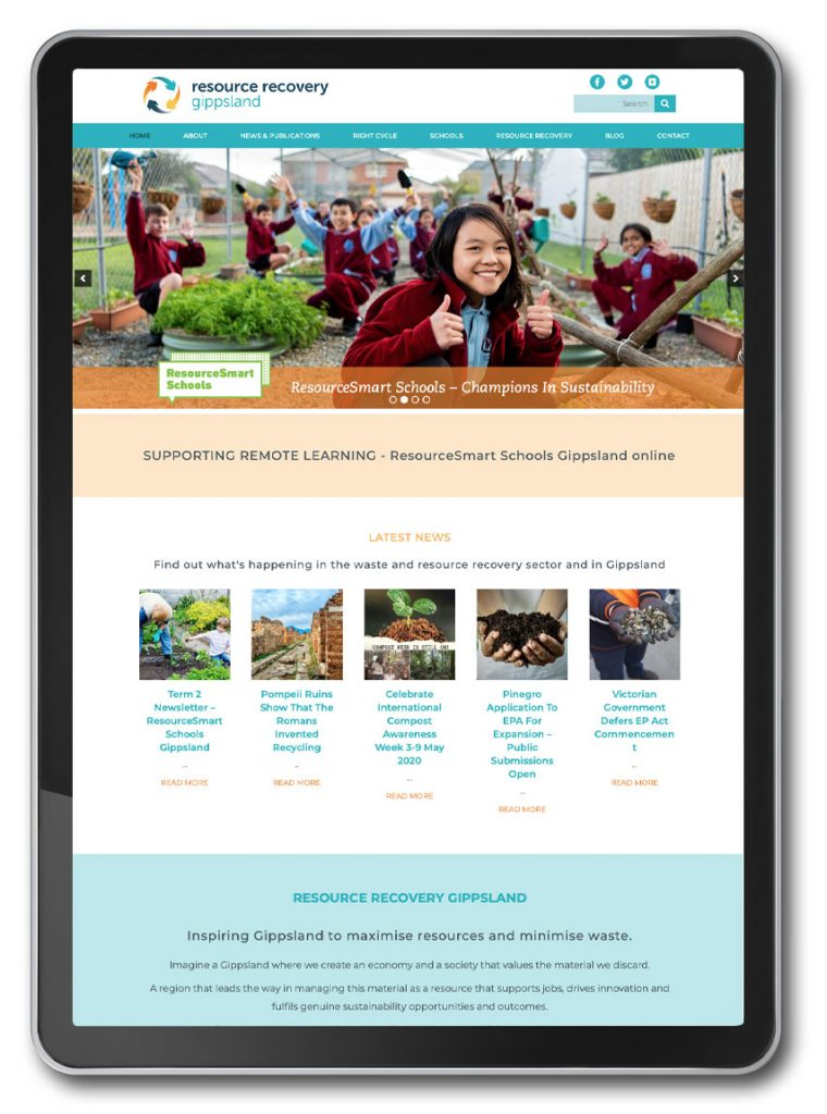 Photo of Resource Recovery Gippsland website homepage